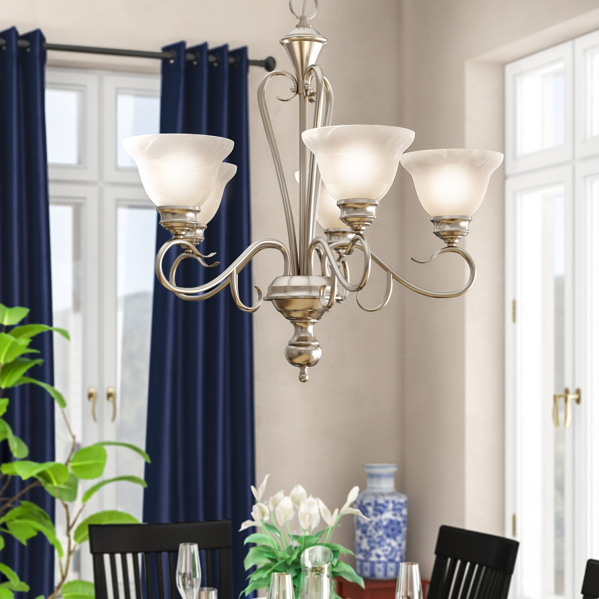 Fleur De Lis Living Birchview 5 Light Shaded Classic Traditional Chandelier Reviews Wayfair
