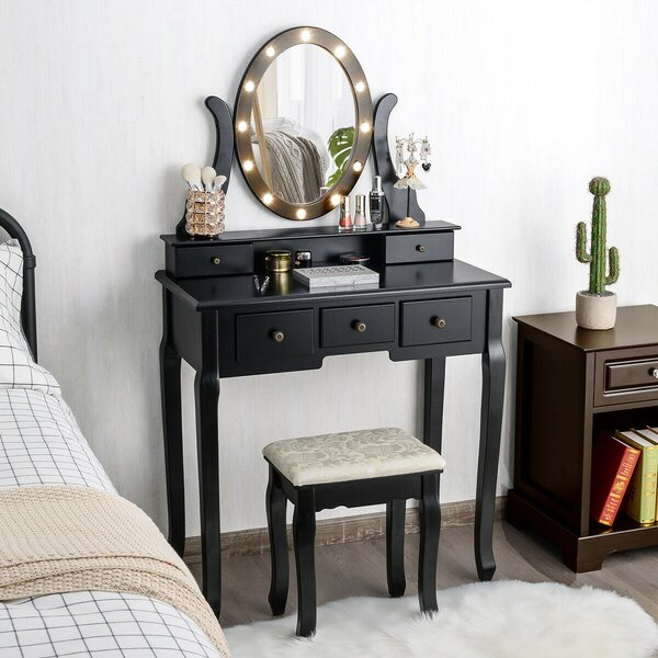 House of Hampton 5 Drawers Bedroom Vanity Makeup Dressing Table Stool Set Lighted Mirror W/12 ...