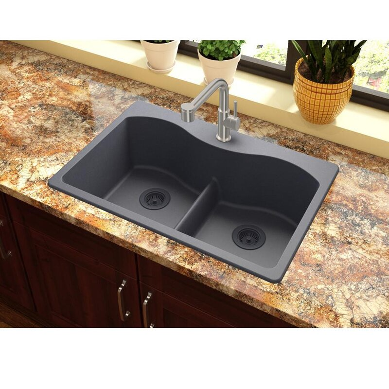 Elkay quartz classic 33 x 22 double basin top mount kitchen sink quartz classic 33 x 22 double basin top mount kitchen sink with aqua divide workwithnaturefo