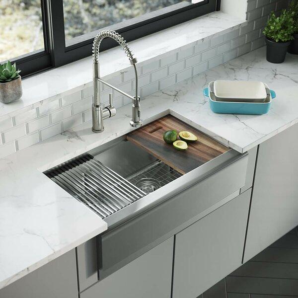René 33 L X 21 W Double Basin Farmhouse Kitchen Sink With Basket Strainer Wayfair
