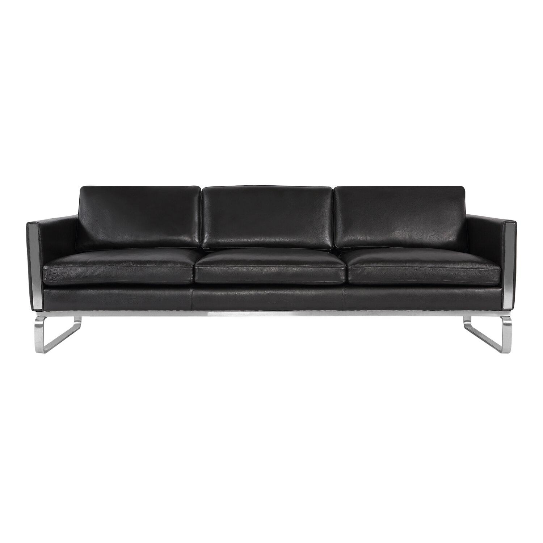 Comm office aina mid century modern leather sofa wayfair