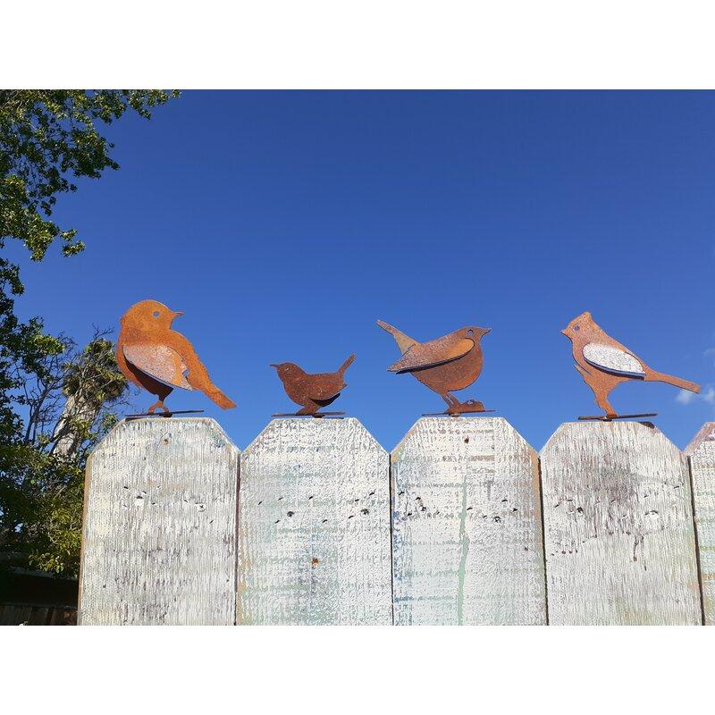 August Grove Metal Rustic Birds Silhouettes 4 Piece Garden Art Set Wayfair