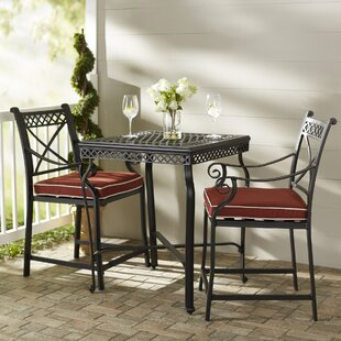 Fleur De Lis Living Nadine 3 Piece Bistro Set with Cushions