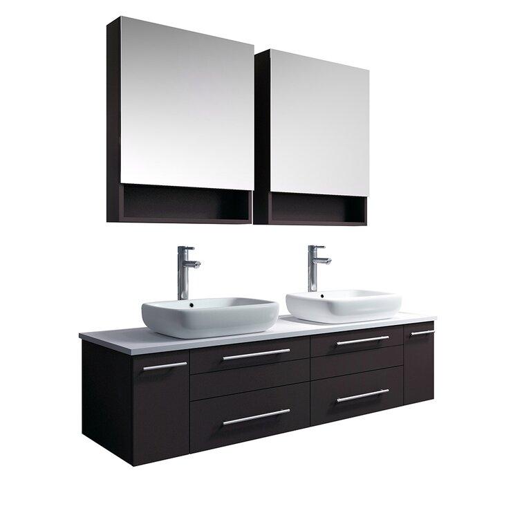 Fresca Lucera 60 Wall Hung Double Vessel Sink Bathroom Vanity Perigold