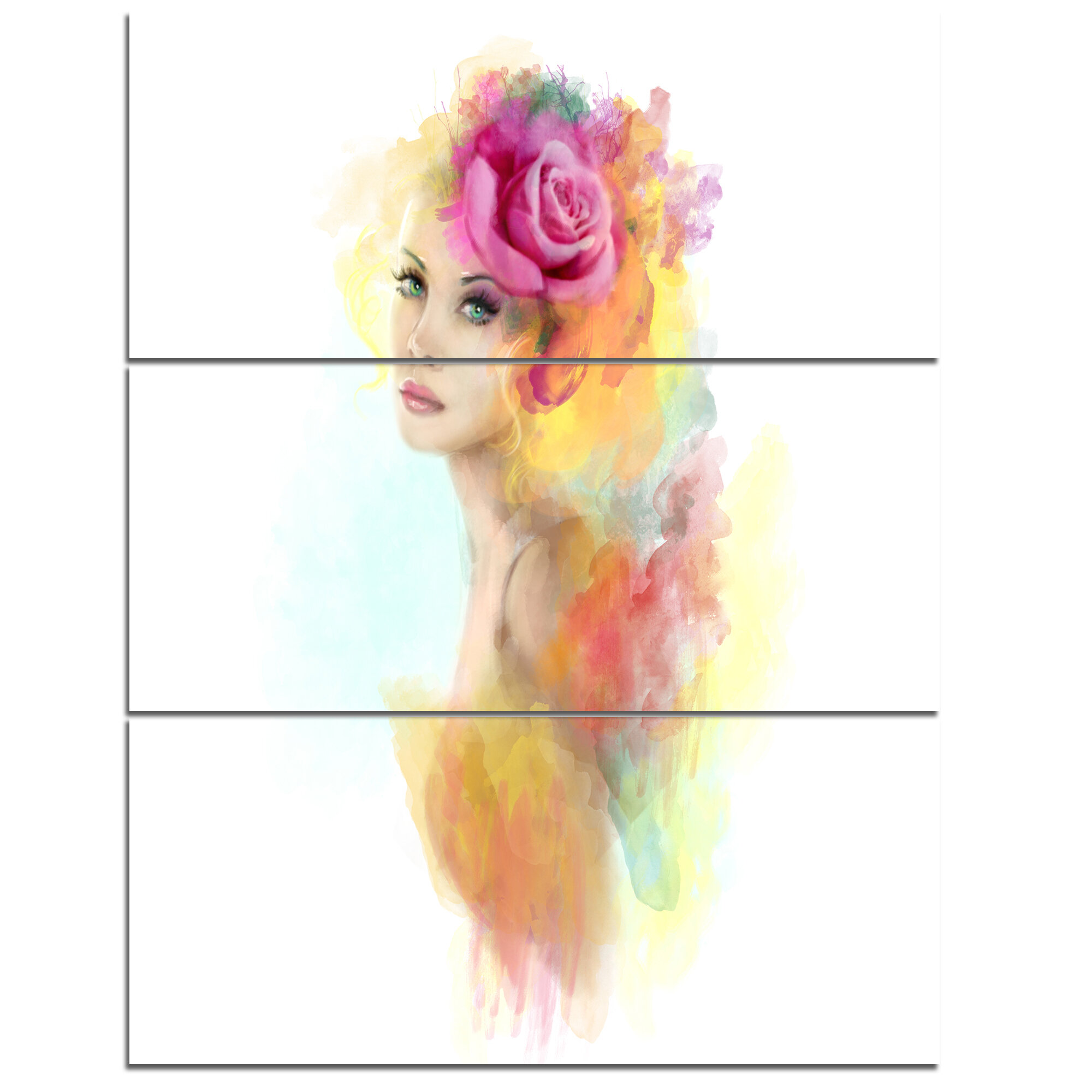 Designart Summer Woman With Flowers 3 Piece Graphic Art On Wrapped Canvas Set Wayfair