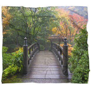 Bridge Wood At Japanese Garden In Fall Blanket