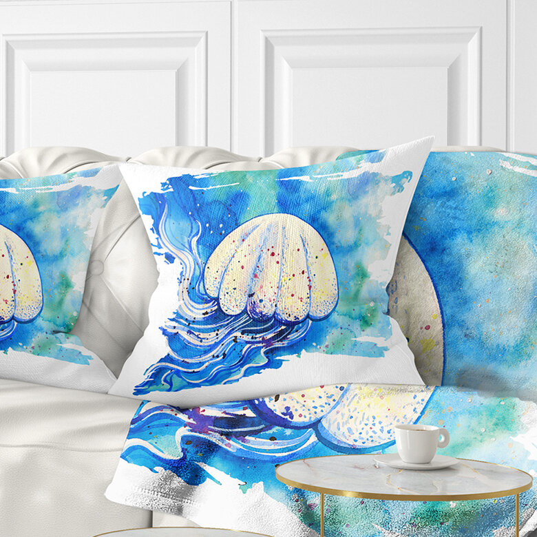 East Urban Home Abstract Jellyfish Watercolor Painting Pillow Wayfair
