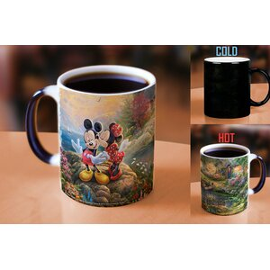 Thomas Kinkade Disney's Mickey and Minnie Sweetheart Cove Painting Heat Reveal Ceramic Coffee Mug