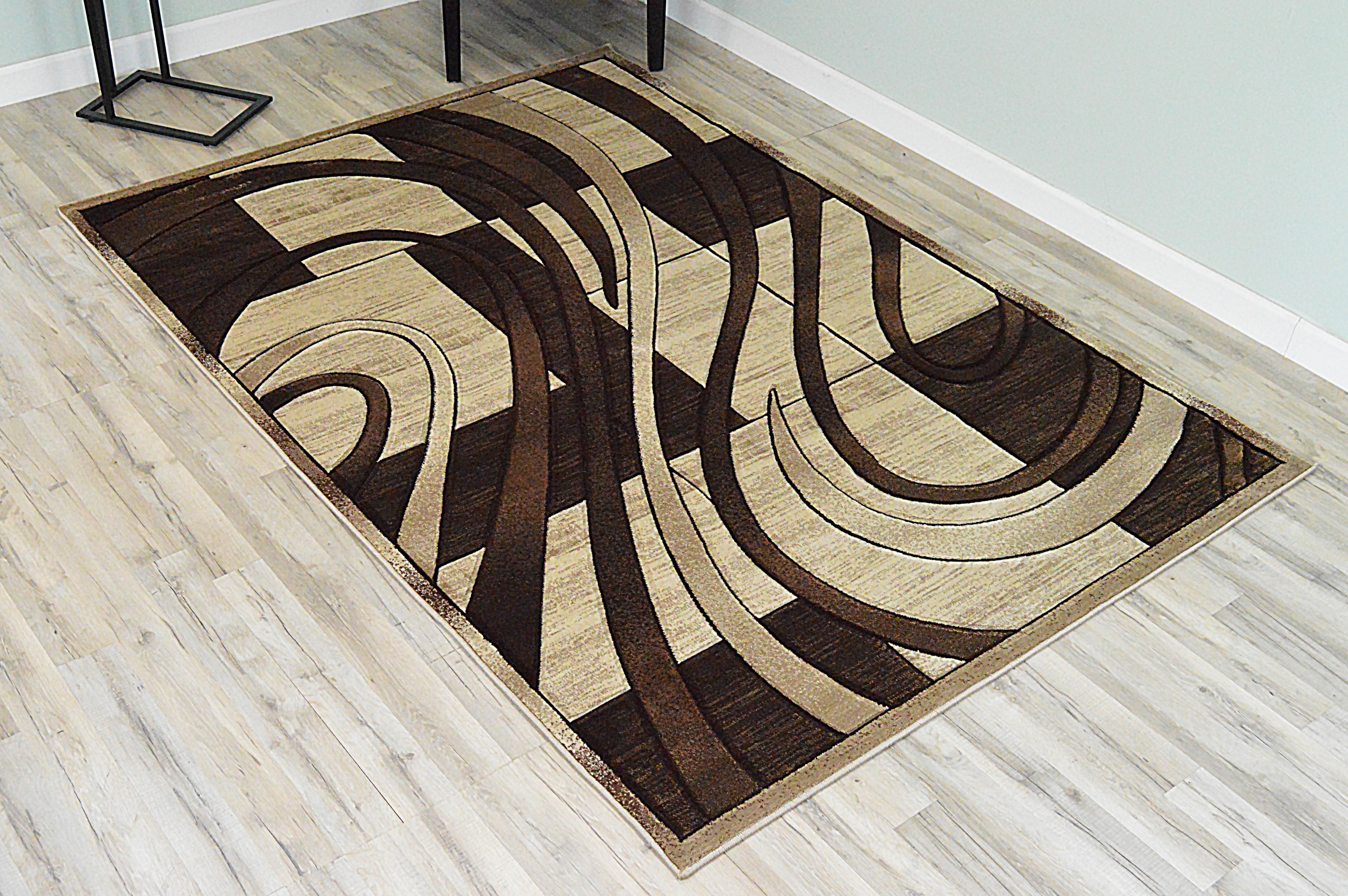 Orren Ellis Ilkley 3d Effect Thick Modern Contemporary Abstract Brown Area Rug Wayfair