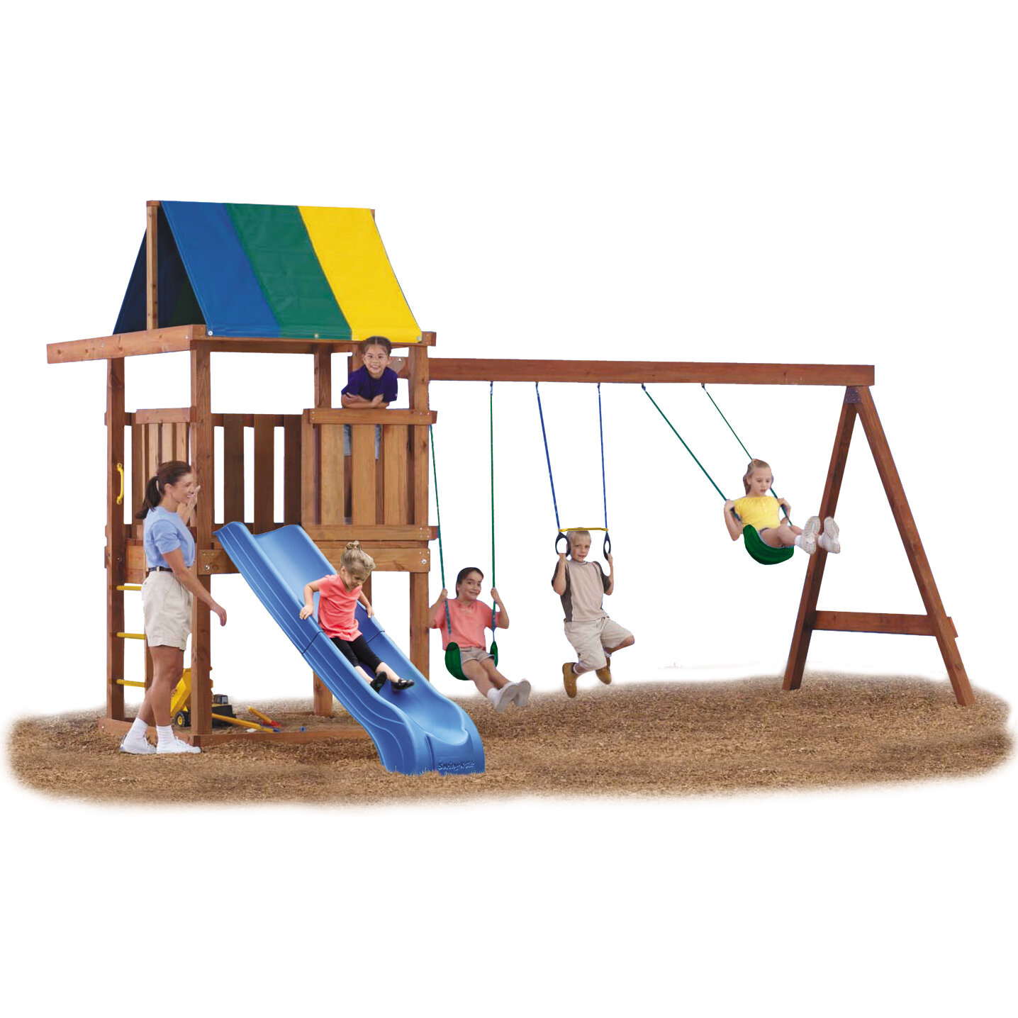 set s club playset spaces deluxe pin swing tower sam backyard adventure outdoor lifetime