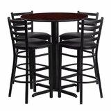 Alvarez Modern Round Laminate 5 Piece Upholstered Pub Table Set by Red Barrel Studio®