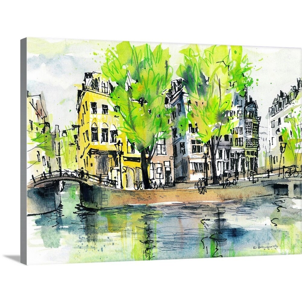 Amsterdam Photo Picture oil Paint Effect Print on Framed Canvas Wall Art Decor