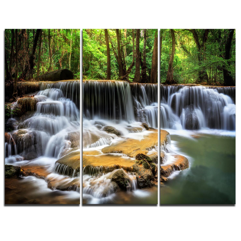 Designart Level Six Of Huai Mae Kamin Waterfall Multi Piece Image On Wrapped Canvas Graphic Art Print On Canvas Wayfair