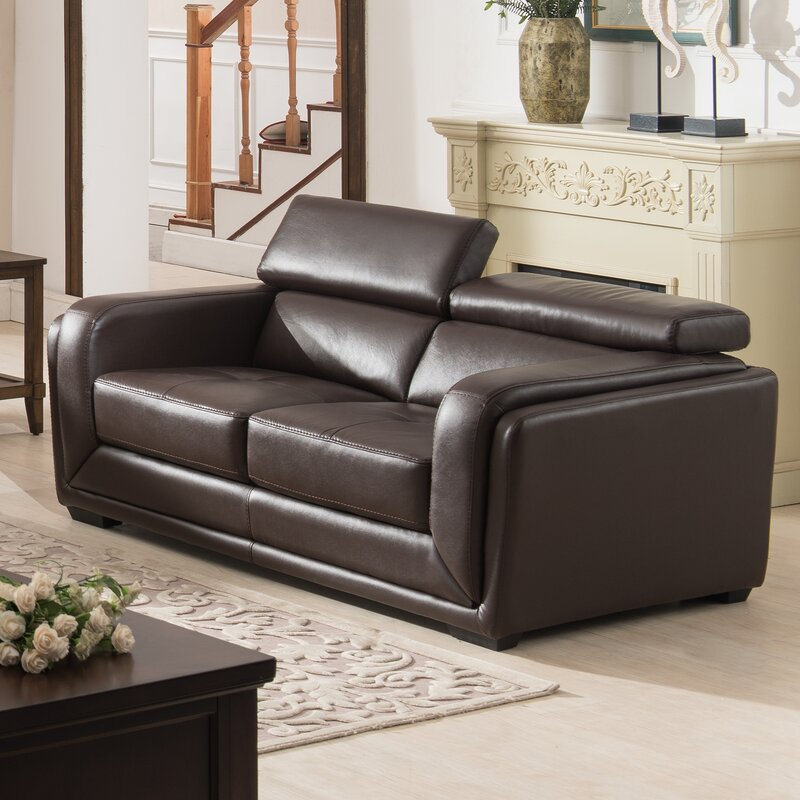 AC Pacific Calvin 2 Piece Leather Living Room Set & Reviews | Wayfair
