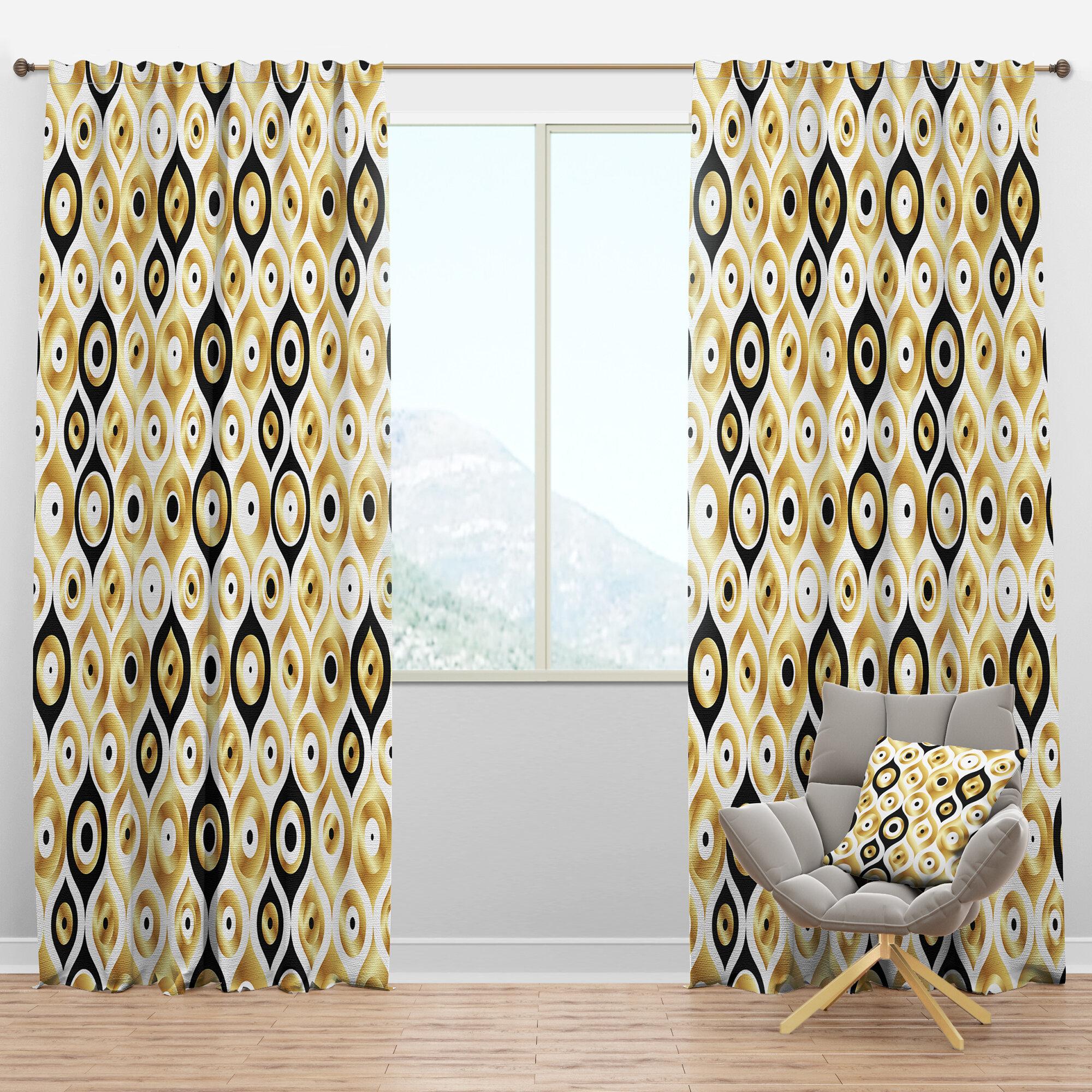Designart Art Deco Metallic Luxury Geometric Semi Sheer Thermal Rod Pocket Single Curtain Panel Wayfair
