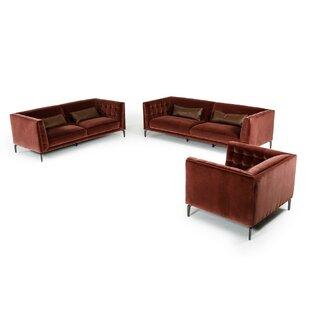 Everly Quinn Perdita 3 Piece Living Room Set