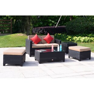 Iverson 5 Piece Rattan Sofa Seating Group with Cushions