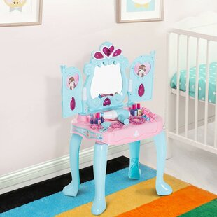 Platte Piano Princess Pretend Play Vanity Set with Mirror by Zoomie Kids