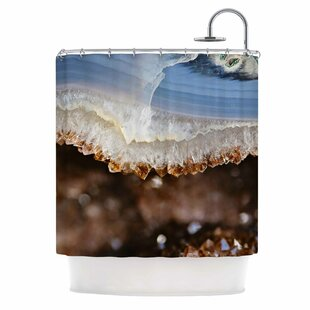 'Blue and Brown Quartz' Nature Photography Single Shower Curtain