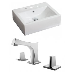 Online Reviews Ceramic 21 Wall Mount Bathroom Sink with Faucet and Overflow By American Imaginations
