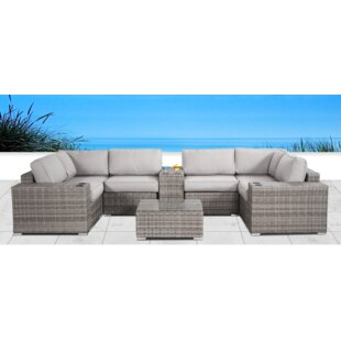 Yeomans Cup Table 10 Piece Rattan Sectional Seating Group