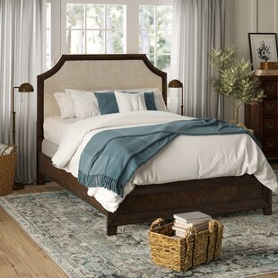 Concetta Linen Arched Bridge Upholstered Panel Bed