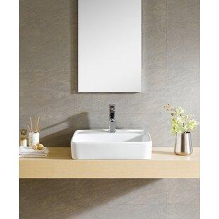 Modern Ceramic Square Vessel Bathroom Sink with Overflow ByFine Fixtures