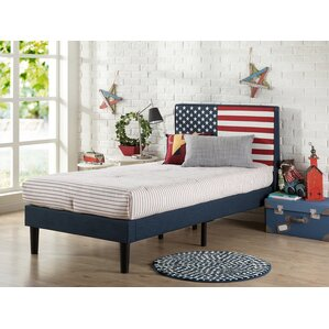 USA Flag Upholstered Twin Platform Bed by Zinus