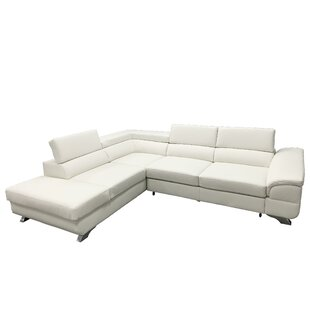 Shirlee Left Hand Facing Leather Sleeper Sectional By Orren Ellis