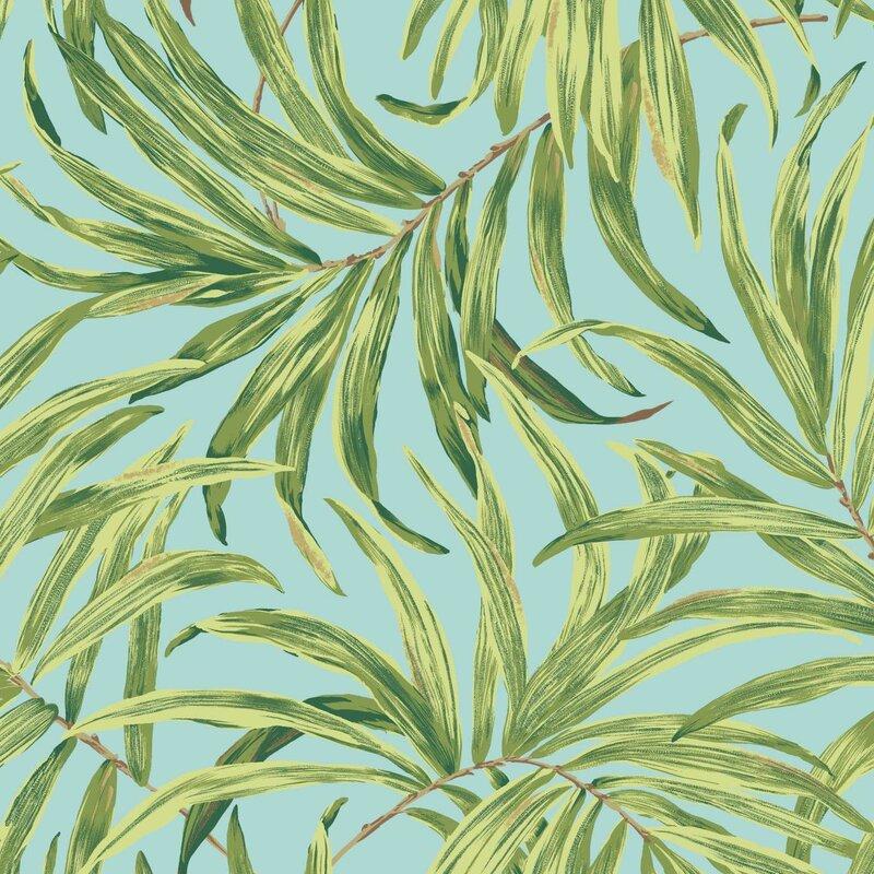 "York Wallcoverings Ashford Tropics 27' x 27"" Bali Leaves Wallpaper Roll"