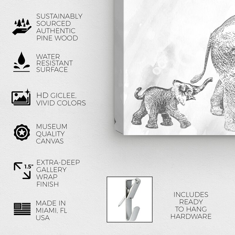 MOTHER AND BABY ELEPHANT BLACK CANVAS PRINT PICTURE READY TO HANG