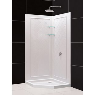 Shop For Qwall SlimLine 76.75 x 36 x 36 Neo-Angle Double Threshold Shower Base and Shower Backwall Kit By DreamLine
