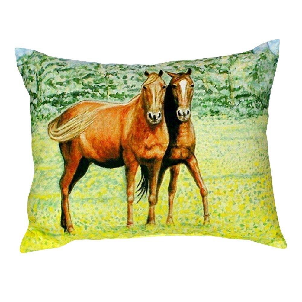 Highland Dunes Shue Two Horses Indoor Outdoor Lumbar Pillow Wayfair
