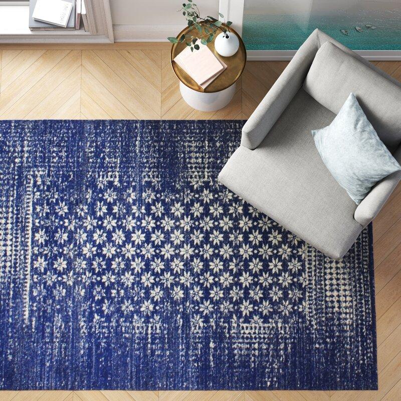 Foundstone Heath Geometric Dark Blue Area Rug Reviews Wayfair