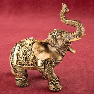 Elephant with Mirror Design and Clear Stone Figurine