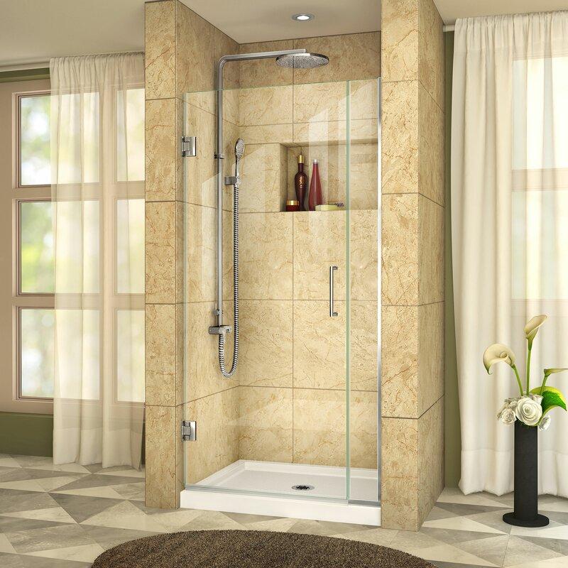 Dreamline Unidoor Plus 305 X 72 Hinged Frameless Shower Door With