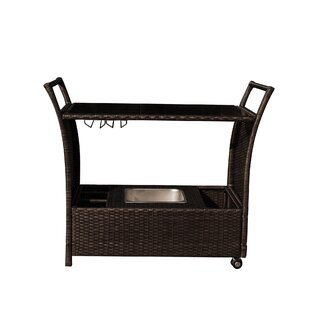 Weatherhill Rolling Wicker Bar Serving Cart by Bay Isle Home