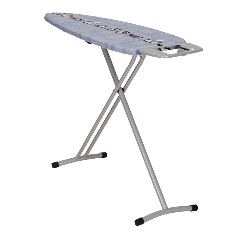 wide top ironing board with iron rest and symbol cover