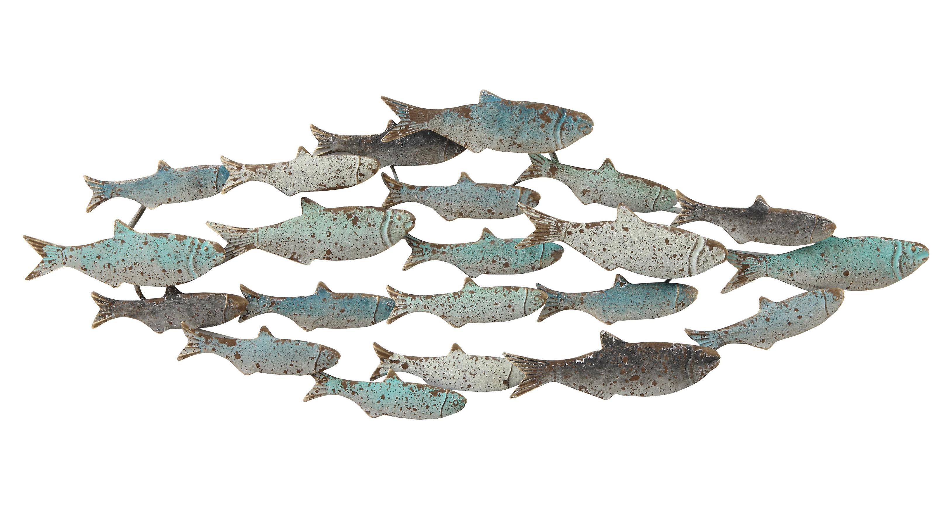 Metal School Of Fish Wall Decor