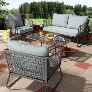 Ainsley 4 Piece Rattan Sofa Seating Group with Cushions