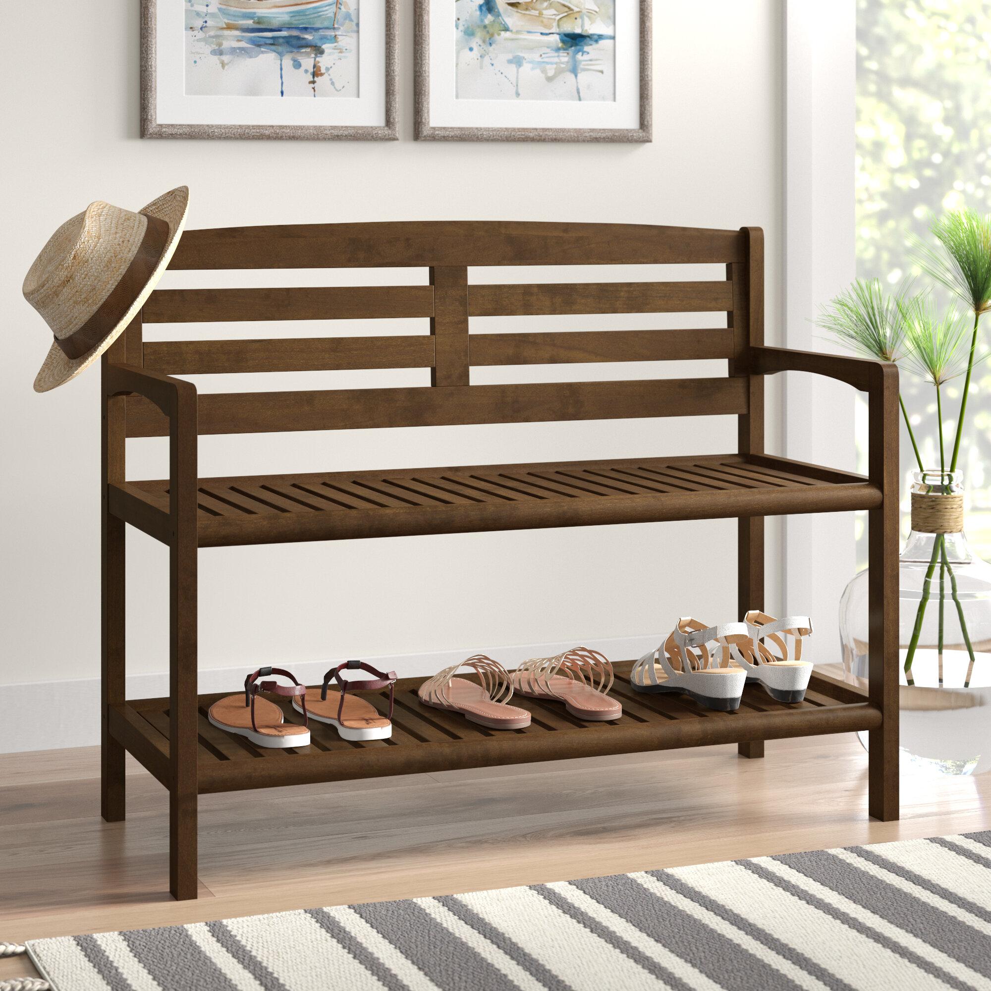 Breakwater Bay Hales Solid Wood Shelves Storage Bench Reviews Wayfair