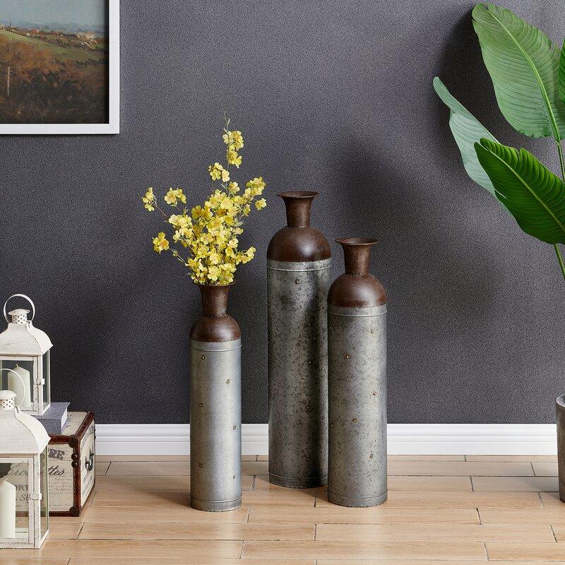 August Grove Thorsen Galvanized 3 Piece Floor Vase Set Reviews Wayfair