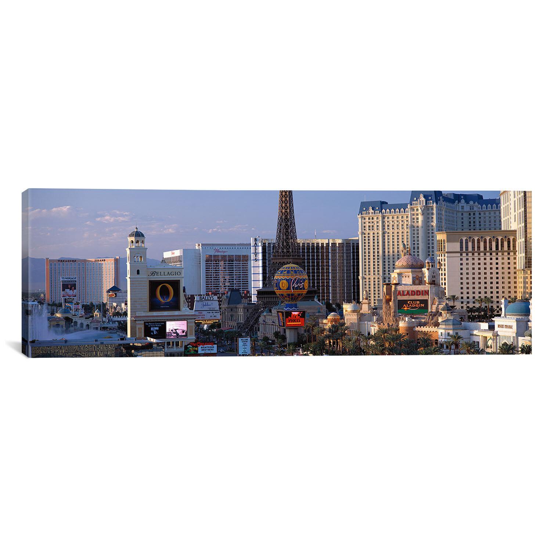 Ebern Designs Panoramic The Strip Las Vegas Nv 2 Wrapped Canvas Photographic Print Wayfair