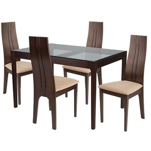 Kieran 5 Piece Solid Wood Dining Set by Ebern Designs