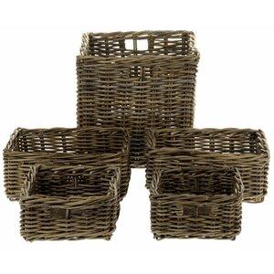 5-tlg. Aufbewahrungskorb-Set aus Rattan von Castleton Home