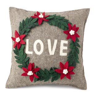 Love Wreath Wool Pillow Cover