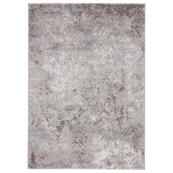 Alvina Geometric Gray White Area Rug