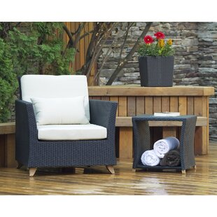 Rattan Teak Patio Chair with Cushions and Table