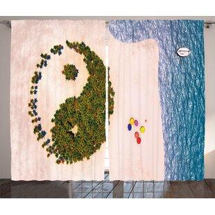 Cothran Ying Yang Aerial Forest View Shaped Like Yin Yang Symbol Tropic Island Coastal Theme Graphic Print & Text Semi-Sheer Rod Pocket Curtain Panels (Set of 2) by Latitude Run