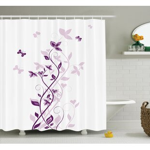 Leslie Purple Violet Tree Persian Lilac Blooms With Butterfly Art Ornamental Plant Graphic Single Shower Curtain